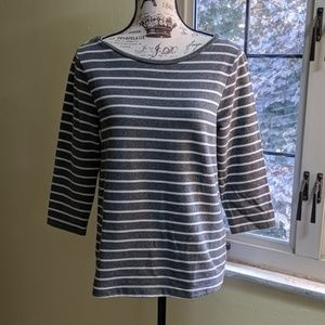 Ann Taylor White and Gray Striped Top